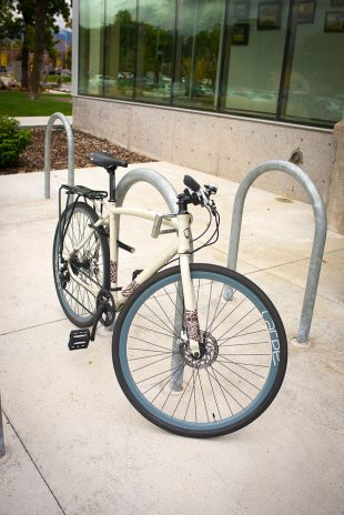 U-Lock secures bike to rack