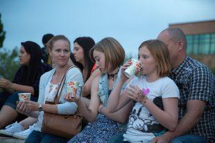 Family enjoying concert