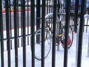 Bike secured in bike cage