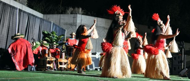 Female luau dancers