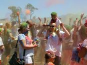 Children and families at Holi festival