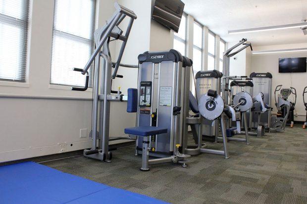 Exercise equipment in the Bruin Fitness Center