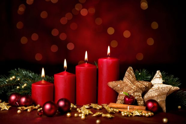 Christmas baubles and candles