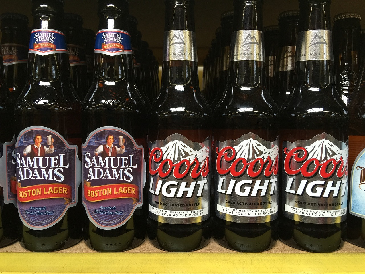 Bottled beer on a store shelf
