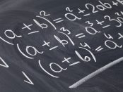 Algebra equations on a chalkboard