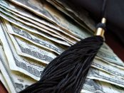 Graduation cap and tassel on American currency