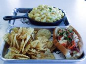 Close-up of Real Mainah, kettle chips and lobster mac