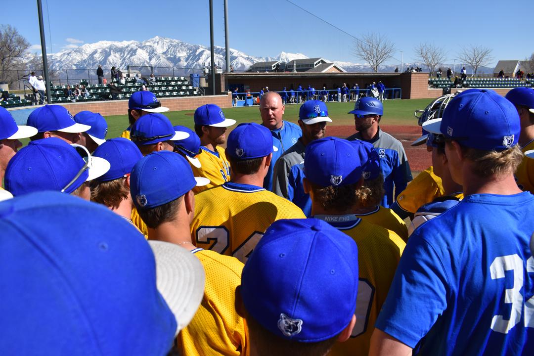 Bruin baseball team huddle