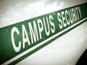 Campus security sign on the side of a university vehicle