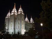Salt Lake Temple, night scene