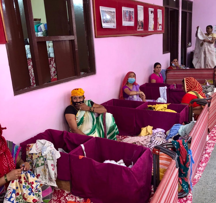 Women collect cloth donations
