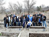 Community garden cleanup group photo