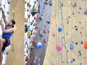 Student in a climbing class