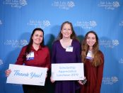 From left to right: student Shila Smithson, scholarship donor Connie Spanton-Jex, and student Rachelle Edwards
