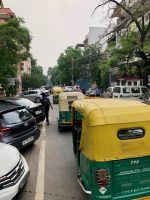 Traffic on suburban street