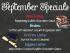 Graphic describing September Specials at Bjorn's Brew