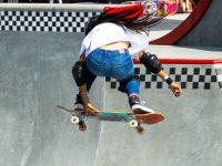 Kokona Hiraki on her skateboard
