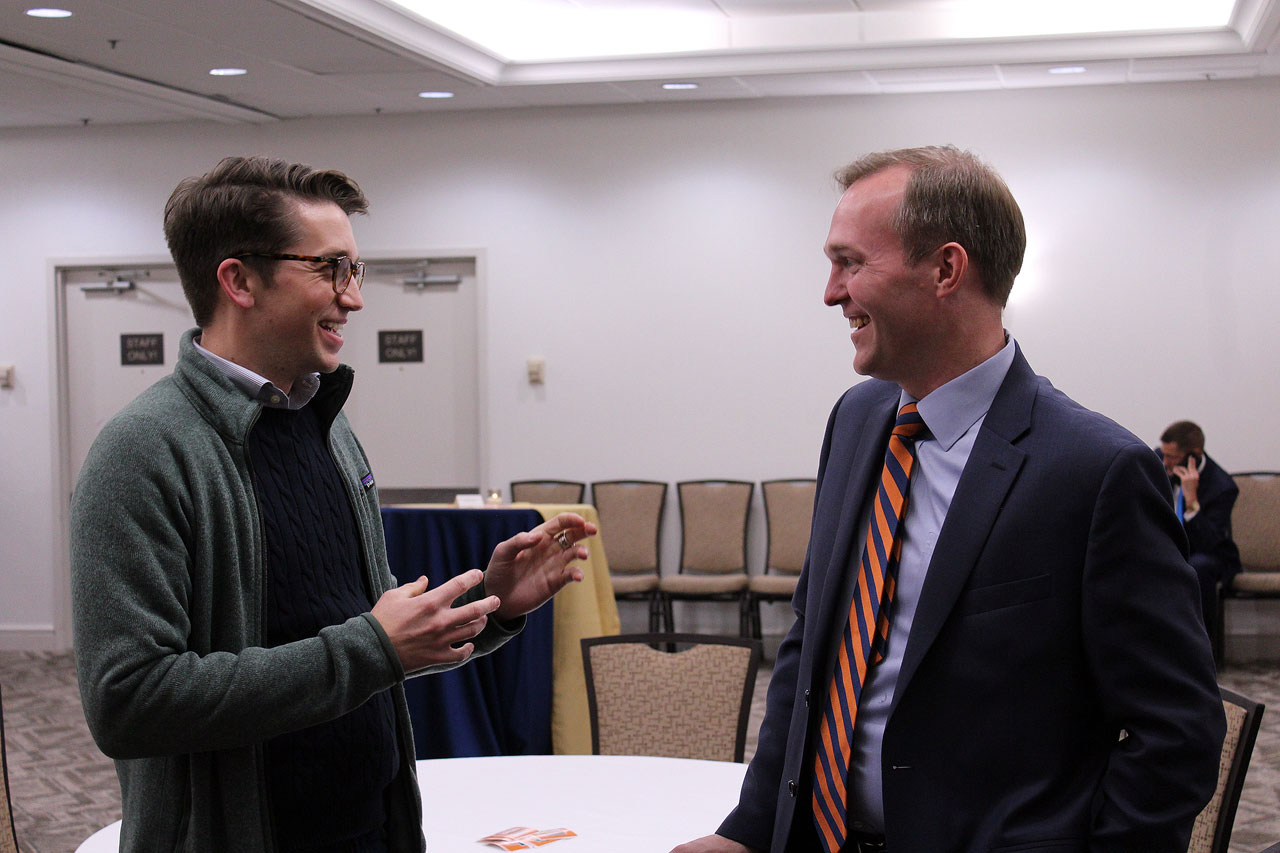 McAdams laughs with a constituent
