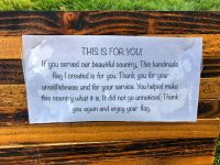Thank-you note from wooden flag maker