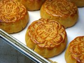 Fresh mooncakes on a tray
