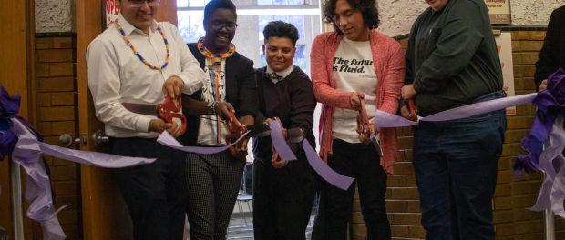 LGBTQ students cut purple ribbon