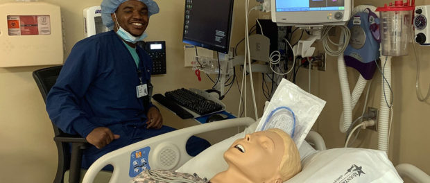 Kevin Guillaume learning to be a nurse