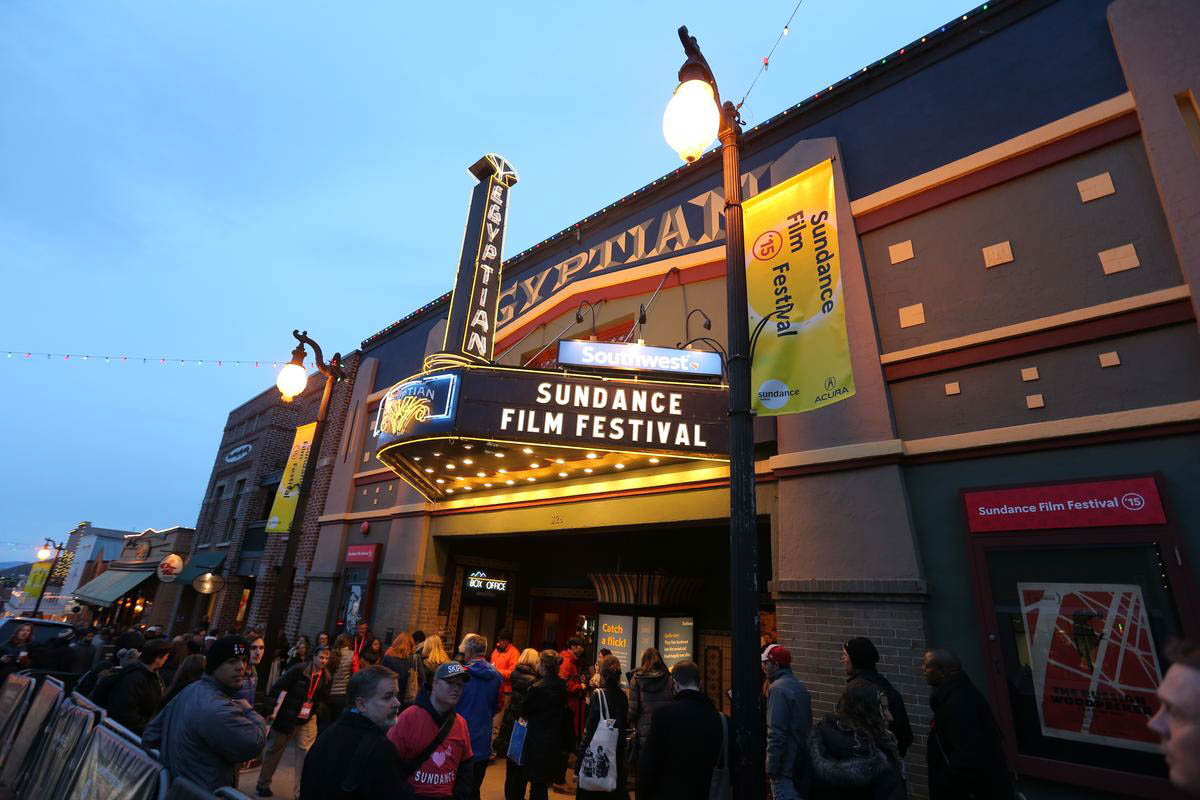 Crowd gathers outside Egyptian Theatre during Sundance