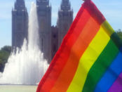 Rainbow flag in front of Salt Lake Temple