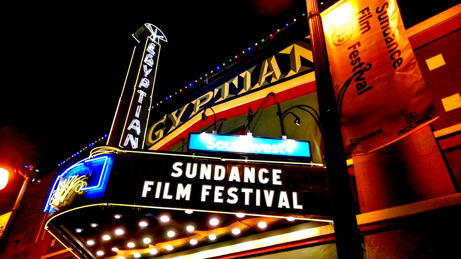 Egyptian Theatre lit up at night during Sundance