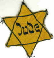 """Jude"" written on cloth Jewish star"