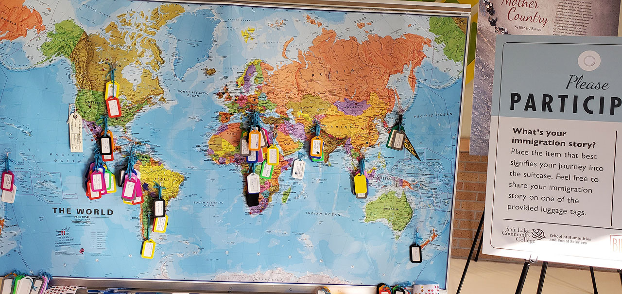World map dotted with tags