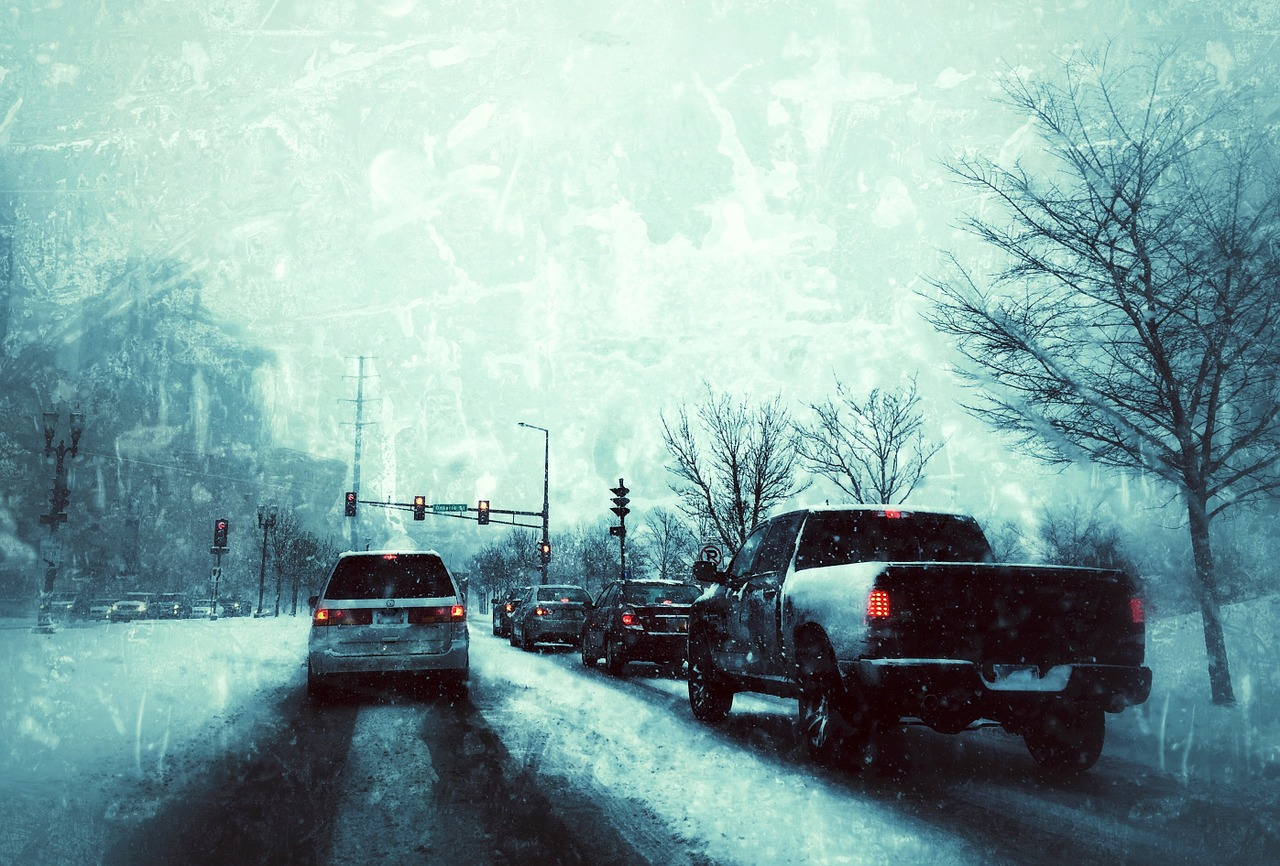 Vehicles driving in icy conditions