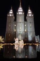 Salt Lake Temple Nativity scene lit up at night