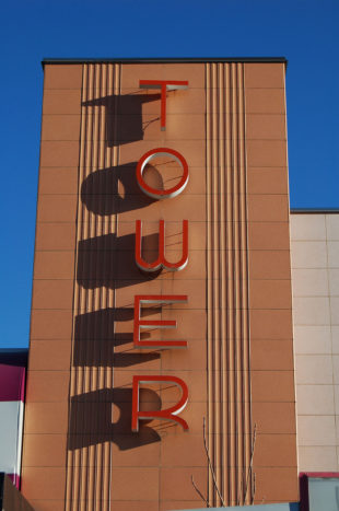 Tower Theatre sign in the daytime