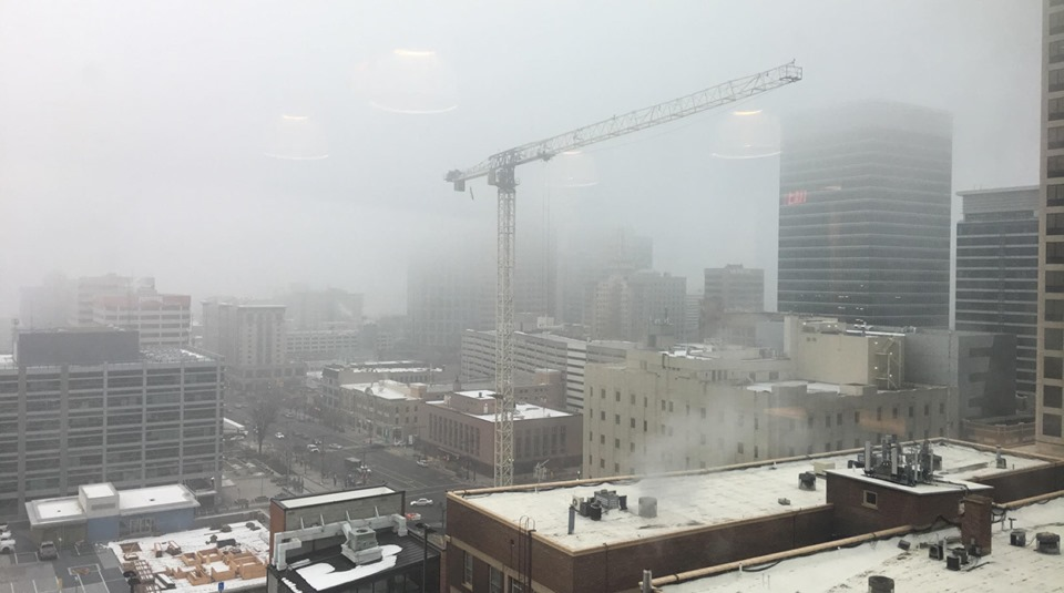 Hazy view of Downtown Salt Lake City