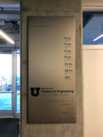 Sign describes features of new mechanical engineering building