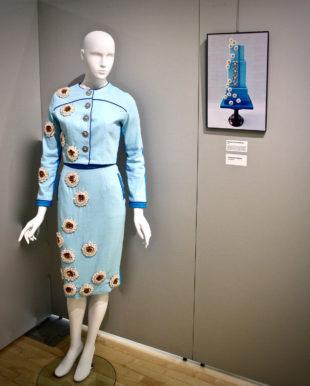 Blue dress design with corresponding culinary photo