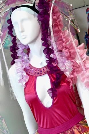 Pink headdress and dress design