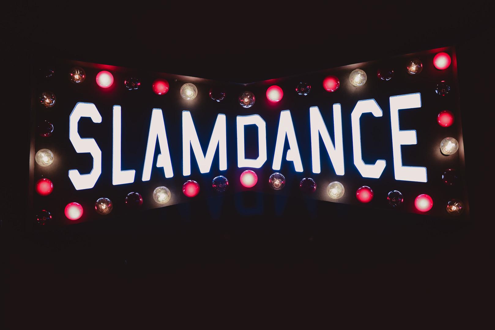 Slamdance sign lit up