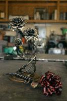 Decorative metal rose sculpture
