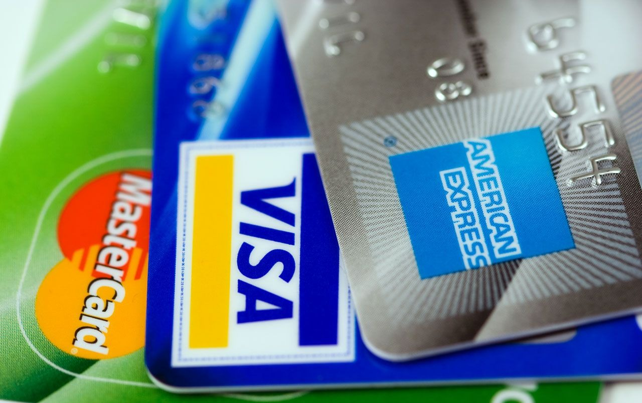 MasterCard, Visa and American Express credit cards