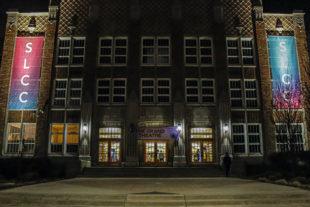 South City Campus exterior at night