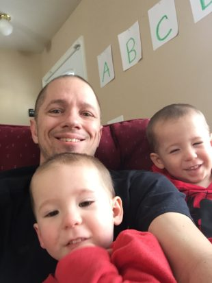 Brandon Kitchen with his twin sons