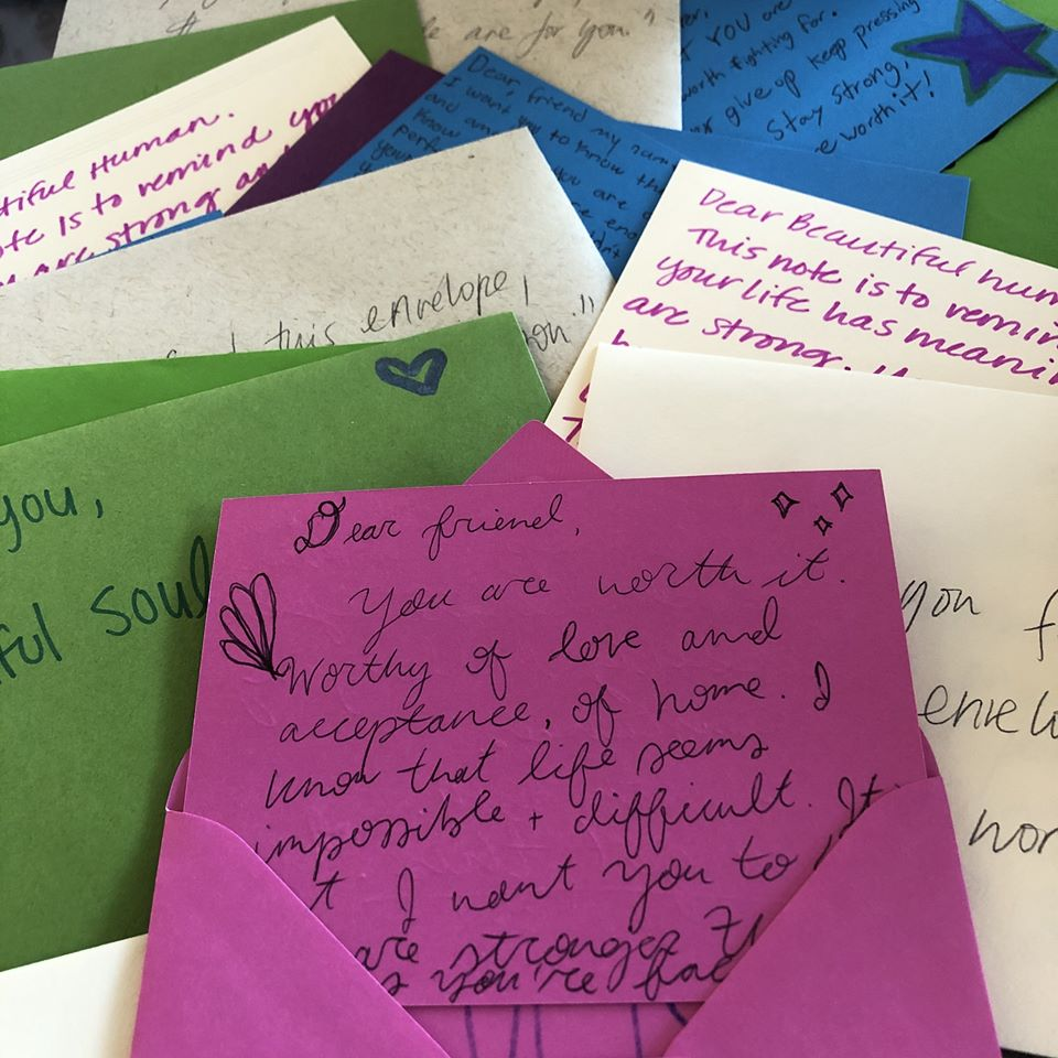 Love letters in various colors
