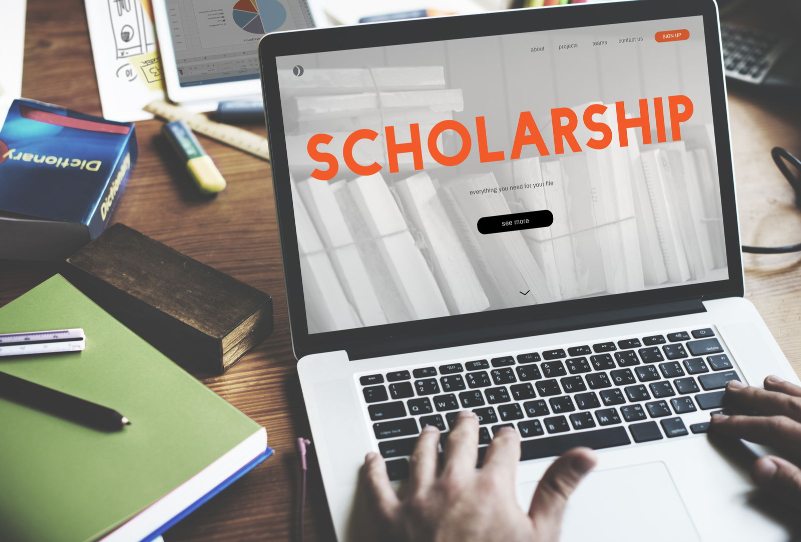 Scholarship written on computer screen