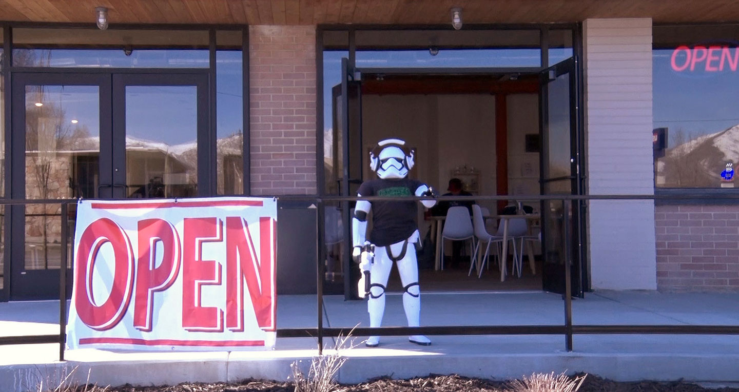 Storm trooper in front of Watchtower cafe