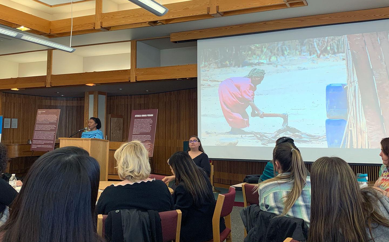 Estercilia Simanca Pushaina gives a presentation