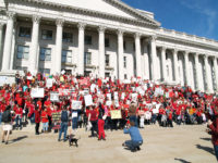 Protesters fill the steps of the Capitol