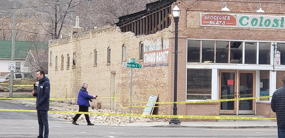 Brick damage on east wall of Colosimo's Standard Market