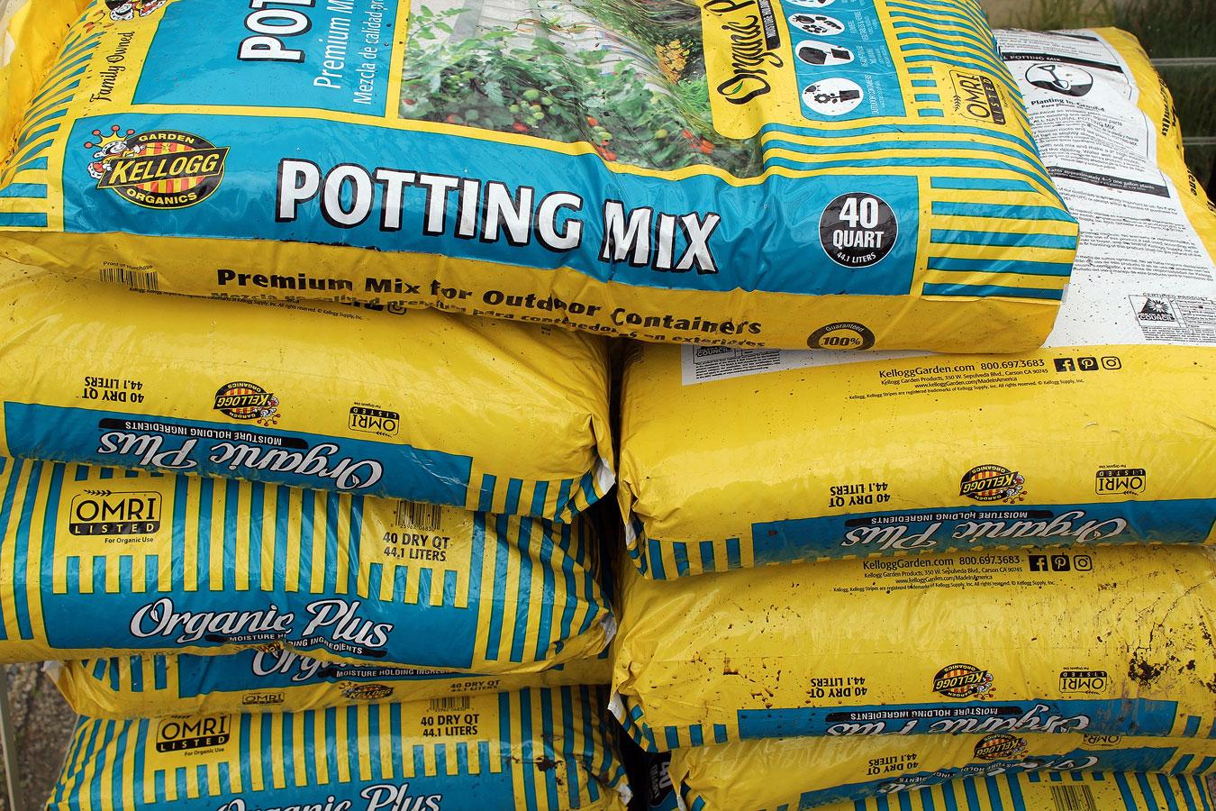 Bags of potting mix